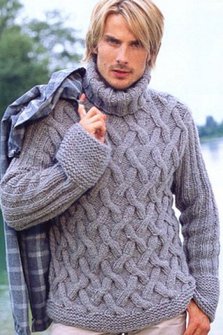 Men's Hand Knitted Mohair Turtleneck Sweater 48B