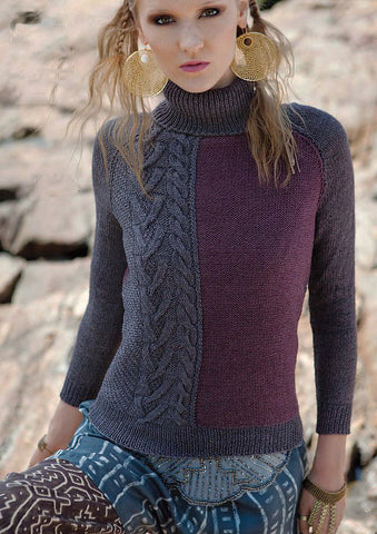 Womens Hand Knit Wool Turtleneck Sweater 64K