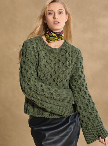 Women Hand Knit Crew Neck Sweater 72G - KnitWearMasters