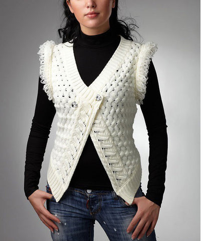 Womens Hand Knit Wool Vest 49N
