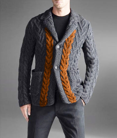 Made to Order Men cable hand knit cardigan 136A
