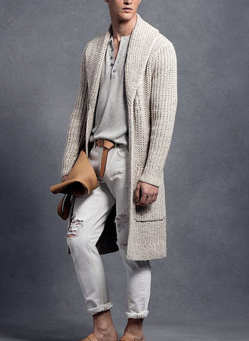 MEN HAND KNIT LONG CARDIGAN 126A - KnitWearMasters