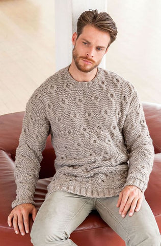 Men's Hand Knit Crew Neck Sweater 137B