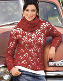 Women's Hand Knit Cowl Neck Sweater 28H - KnitWearMasters