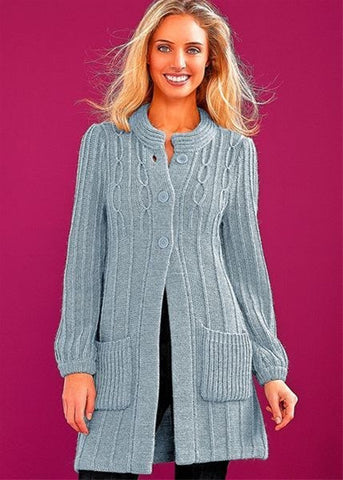 Womens Long Hand Knit Coat 49F