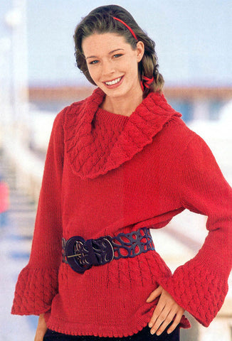 Women's Hand Knit Cowl Neck Sweater 42H - KnitWearMasters