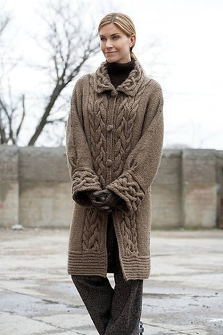Womens Hand Knit Wool Coat.37F - KnitWearMasters