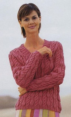 Women's Hand Knit V-neck Sweater 39J - KnitWearMasters