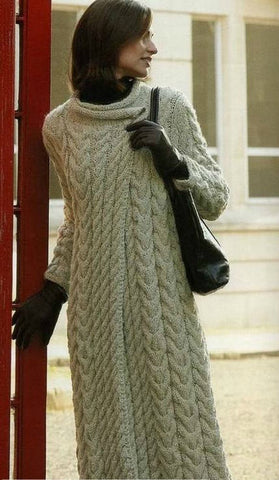 Womens Long Hand Knit Coat.45F - KnitWearMasters