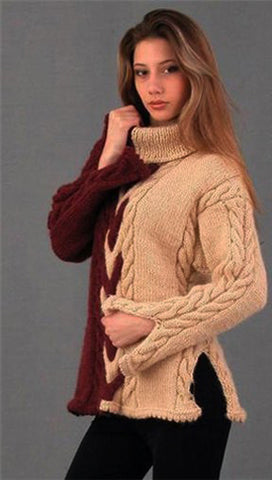 Womens Hand Knit Turtleneck Sweater 16K - KnitWearMasters