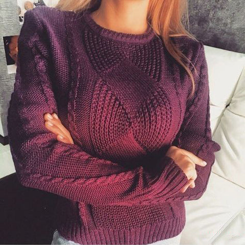 Women Hand Knit Crew Neck Sweater 74G