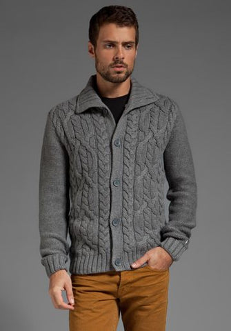 MENS HAND KNIT WOOL CARDIGAN 109A