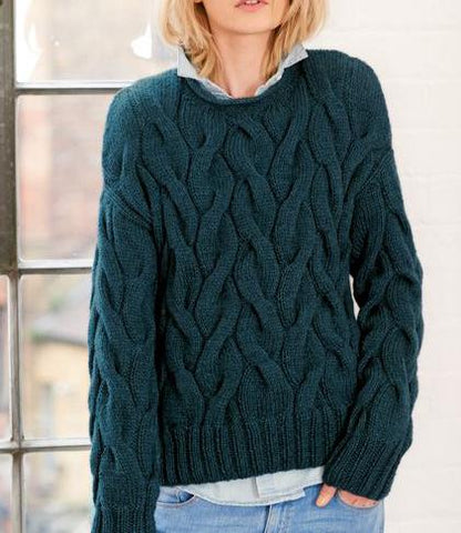 Women's Hand Knit Crew Neck Sweater 84G - KnitWearMasters