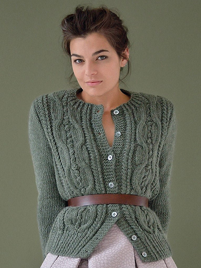 Women's Hand Knitted Wool Cabled Cardigan 8D - KnitWearMasters