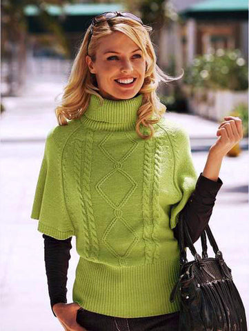 Womens Hand Knit Wool  Turtleneck Sweater 75K - KnitWearMasters