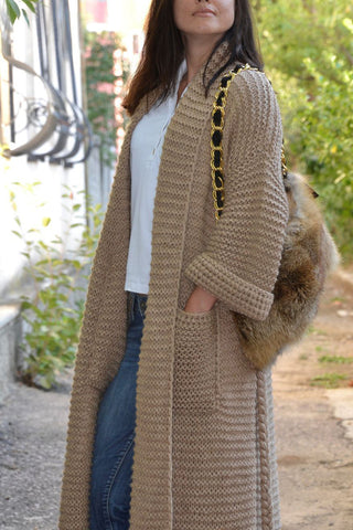Women's Hand Knitted Long Coat 16D