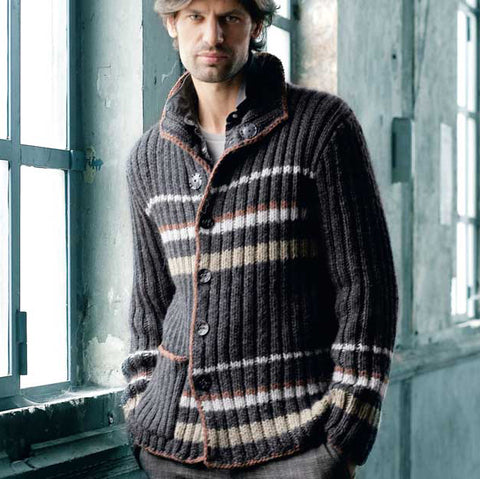 Mens hand knitted wool cardigan 145A
