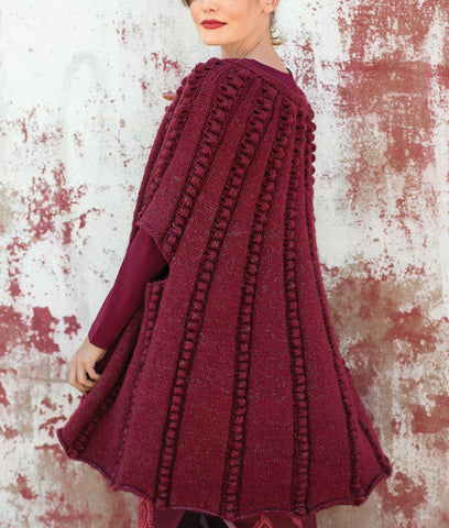 Womens Hand Knit Wool Cape 77N - KnitWearMasters