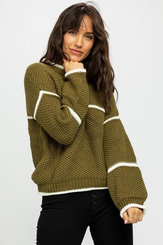 Women Hand Knit Crew Neck Sweater 71G