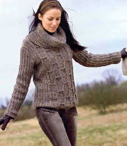 Women's Hand Knit Cowl Neck Sweater 34H