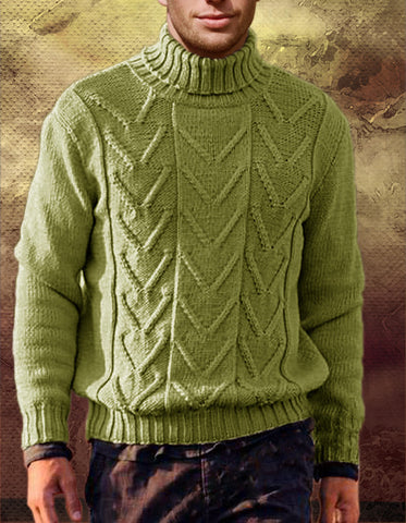 Men's Hand Knitted Turtleneck Wool Sweater 14B - KnitWearMasters