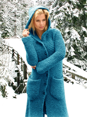 Women's Hand Knitted Thick Hooded Coat 2F - KnitWearMasters