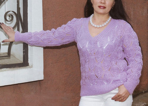 Women's Hand Knit V-neck Sweater 41J - KnitWearMasters