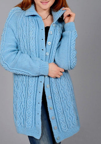 Womens Wool Hand Knit Cardigan.64D - KnitWearMasters
