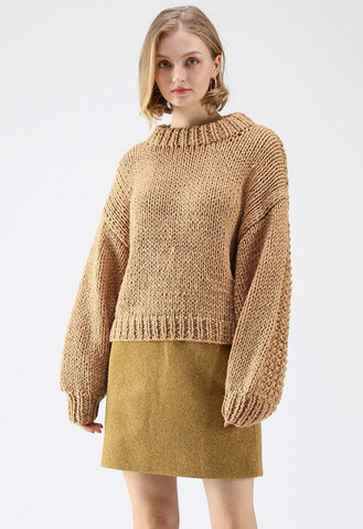 Women Hand Knit Crew Neck Sweater 70G - KnitWearMasters