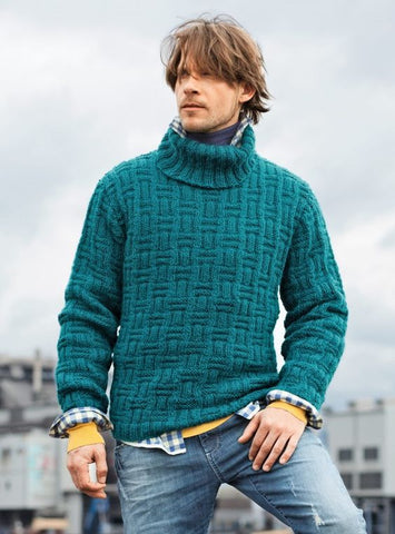 Men's Hand Knit Turtleneck Sweater 124B - KnitWearMasters