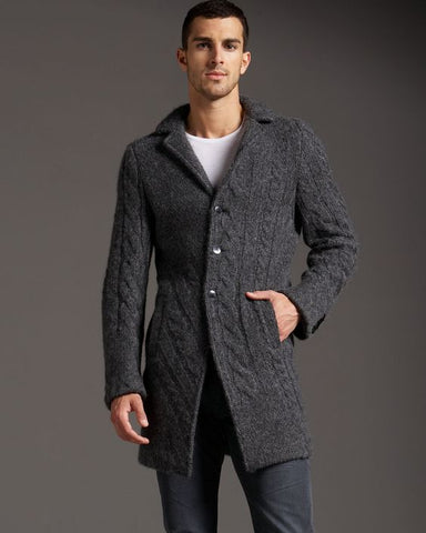 MEN HAND KNIT LONG CARDIGAN 119A - KnitWearMasters