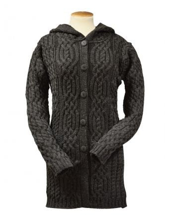 Womens Hand Knit Hooded Cardigan.68D - KnitWearMasters
