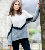Women Hand Knit Crew Neck Sweater 79G - KnitWearMasters