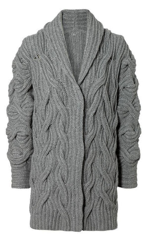 Womens Cable Hand Knit Cardigan.73D - KnitWearMasters