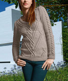 Women's Hand Knit V-neck Sweater 38J - KnitWearMasters
