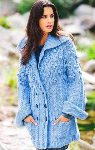 Womens Cable Hand Knit Cardigan.75D