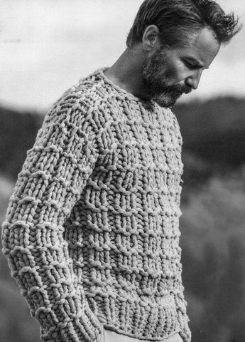 Men's Hand Knit Crew Neck Sweater 135B