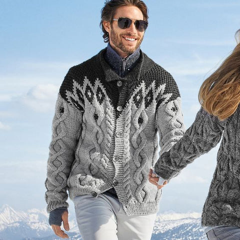 MEN HAND KNIT CARDIGAN 124A - KnitWearMasters