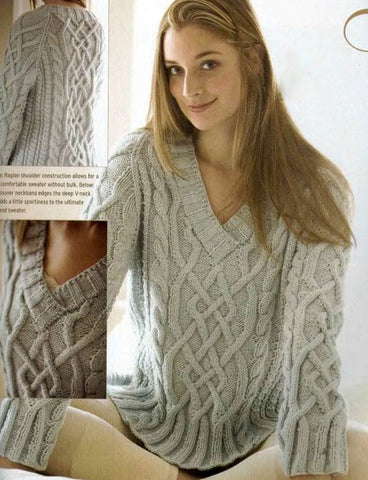 Women's Hand Knit V-neck Sweater 43J - KnitWearMasters