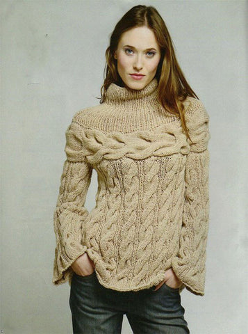 Womens Hand Knit Wool  Turtleneck Sweater 78K - KnitWearMasters
