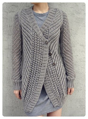 Women's Hand Knitted Wool Buttoned Cardigan 3D