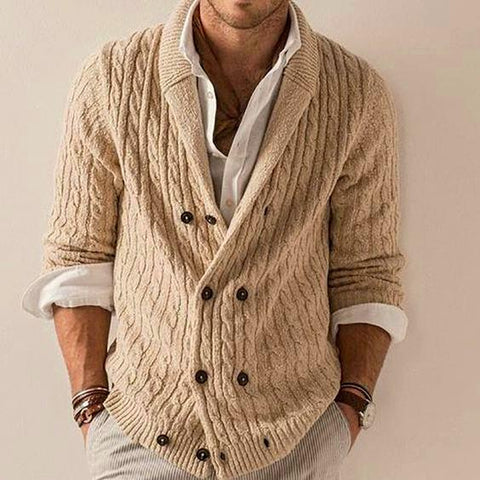 Men's hand knit Shawl Collar cardigan 257A - KnitWearMasters