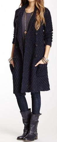 Womens Cable Hand Knit Wool Coat.20F
