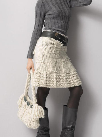 Women's Hand Knit Skirt 60E - KnitWearMasters