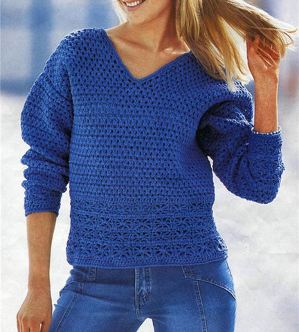 Women's Hand Knit V-neck Sweater 12J - KnitWearMasters