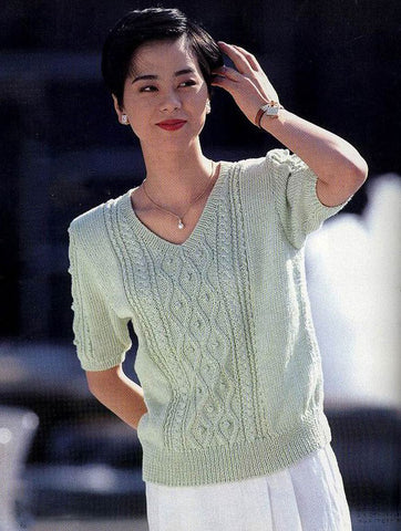 Women's Hand Knit V-neck Sweater 44J - KnitWearMasters