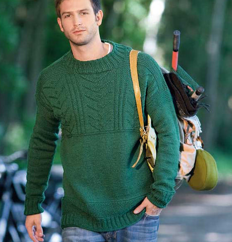 Men's Hand Knit Crewneck Sweater 246B