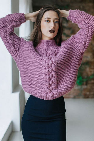 Women Hand Knit Turtleneck Sweater 87K - KnitWearMasters