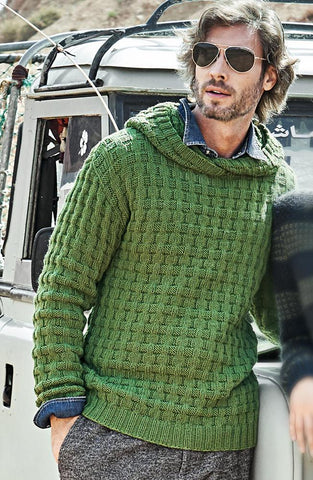 Men's Hand Knit Hooded Sweater 193B - KnitWearMasters