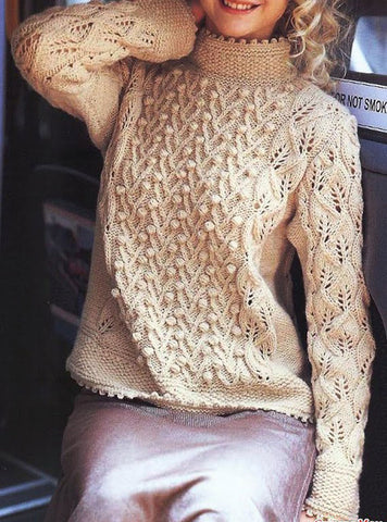Womens Hand Knit Wool  Turtleneck Sweater 81K - KnitWearMasters